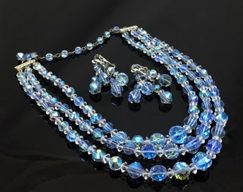 Triple Strand Blue AB Crystal Bead Necklace Earrings Set - Vintage 1960s Light Blue Aurora Borealis Crystal Beads Demi Parure