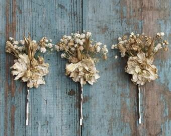 Boho Glam Dried Flower Hair Grips Set of 3