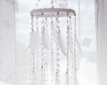 White Baby Mobiles Nursery Decor Dream Catcher Nursery Mobile Wedding Accessories Wall decor Mobile Bedroom Nursery Boho Kids Girl Boy