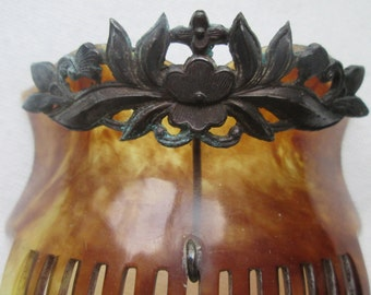 Antique Celluloid Haircomb Vintage with Steel Ornament