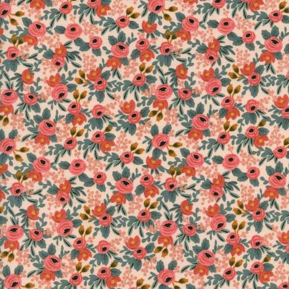 Changing Pad Cover >> Rifle Paper Co. Rosa in Peach >> Made-to-Order >> peach floral changing pad, blush pink floral changing pad, coral