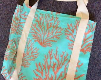Turquoise Coral Tote