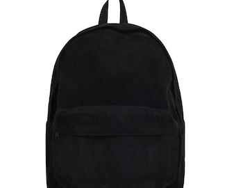 Basic Style Corduroy Backpack (Black)