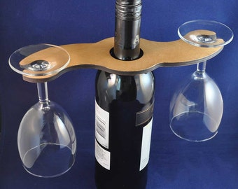 Wooden Wine Glass Holder for 2 glasses: Fits most bottle sizes, even the bubbly ones