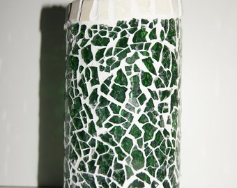 Mosaic candleglass from recycled winebottle Nr. 158