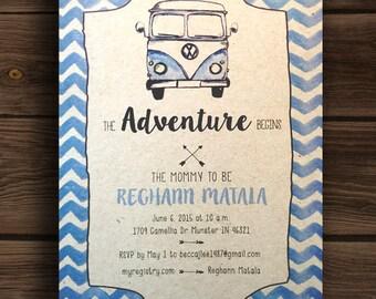 The Adventure Begins ~ Blue VW Volkswagon Van Baby Shower Invitation