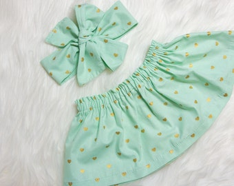 Mint and Gold Heart Skirt and Head wrap Set- gold heart skirt, gold heart baby skirt, little girl skirt, Valentines Outfit