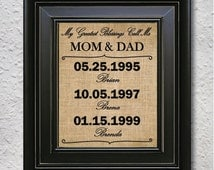 My greatest blessings call me Mom-Dad, Personalised gift for Parents, Birthday Gift for mom, Birthday Gift for Dad, Mother's burlap print-2H