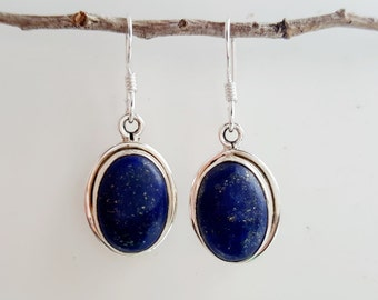 Lapis Lazuli Earrings - Sterling Silver Lapis Earrings - Blue Lapis Dangle Earrings -  Blue Stone Earrings - Lapis Jewelry