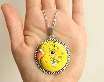Custom pet portrait, custom bird portrait, custom parrot portrait, personalized pet jewelry, custom parrot jewelry, custom budgie necklace
