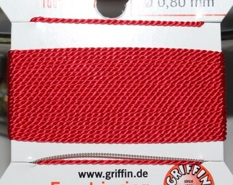 Griffin Red Silk Bead Thread with Needle