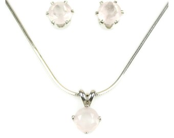 Round Rose Quartz Jewelry Set Pale Pink Earrings and Necklace Taurus Birthstone 925 Sterling Silver Gift For Girlfriend Sweet 16 Gift