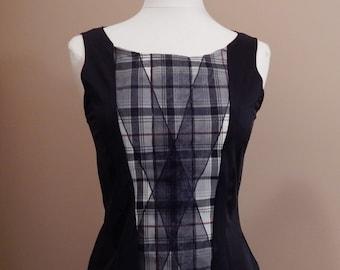 Black & plaid blouse / Southern blouse / Stretchy blouse