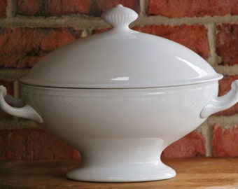 FREE SHIPPING!! - Antique T&R Boote Ironstone Tureen - 19th Century English Ironstone - Rustic Farmhouse White Stoneware - Cottage Pottery