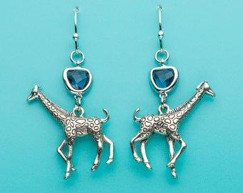 Giraffe Earrings, Sapphire Giraffe Earrings, Sapphire Crystal Earrings, Animal Earrings, Giraffe Gift, Dangle Earrings, Gifts for Her, 157