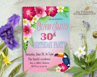 Tropical Birthday Invitation / Digital Printable Invite / 30th 40th 50th 60th 70th / any age / DIY Summer Party