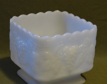 SALE Anchor Hocking Vintage Milk Glass Square Planter with Grapes and Leaves, Scalloped around the top