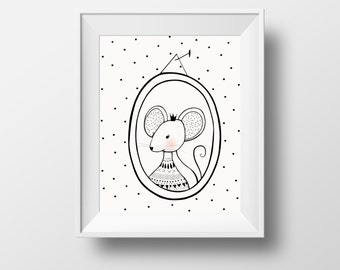 mouse print, mouse kids print, kids room print, mouse wall art print, pink mouse