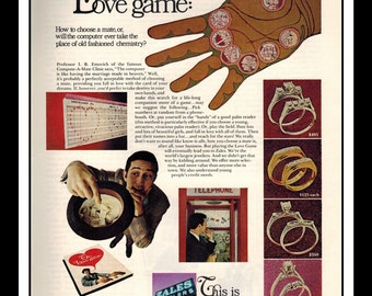 """Vintage Print Ad October 1968 : Zales Jewelers The Love Game Jewelry Rings Wall Art Decor 8.5"""" x 11"""" Advertisement"""