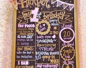 First birthday chalkboard, hand painted birthday chalkboard, custom birthday chalkboard, first birthday chalkboard sign, girl birthday sign