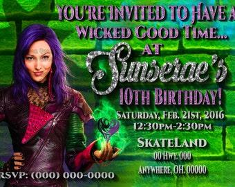 Disney Descendants Invitation - Descendants Invite - Mal Descendants Birthday Invitation - Disney Descendants Birthday Party - Mal Invite