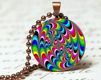 Colourful trippy swirls pendant necklace