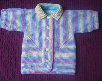 Multi Coloured Hand Knitted Baby Surprise Jacket Cardigan