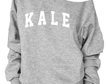 Kale print oversized off shoulder raw edge  sweatshirt