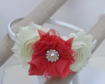 Coral flower girl headband, coral and ivory headband, coral headbands, satin ivory headbands, toddler headbands coral, coral hair accessory