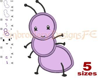 Ant Applique Design - 5 sizes - Machine Embroidery Design File