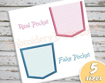 Pocket Applique Design - 5 sizes - Machine Embroidery Design File