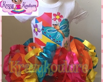 Butterfly ribbon trimmed tutu set