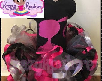 barbie ribbon trimmed tutu set