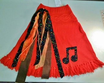 REDUCED, Music Notes Skirt,Flair Skirt, Circle Skirt, REpurposed skirt,Twirl Skirt, UPcycled Orange Skirt, Ready to Ship