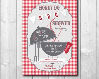 HONEY DO BBQ Shower Invitation printable/digital, red, white, gingham, cookout, couples, grill, tool, gadget, garden/wording can be changed