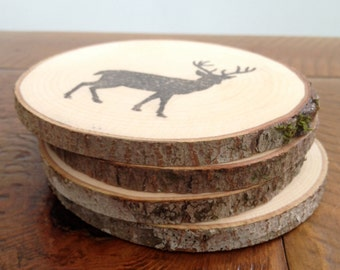 Set of 4 Wood Coasters, Woodland Animals, Home and Living, Kitchen and Dining, Rustic Home Decor, Camp, Cottage, Wood Slices, Natural