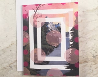 Pink Mountain with Trees Greeting Card