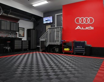 Audi & 4 Rings Logo Combo Garage Sign Brushed Silver