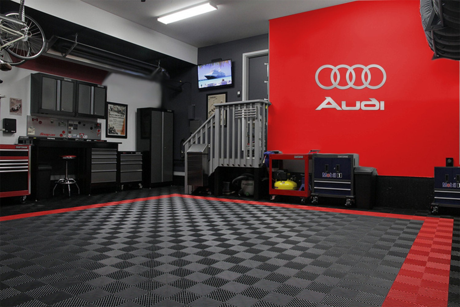audi 4 rings logo combo garage sign brushed silver. Black Bedroom Furniture Sets. Home Design Ideas