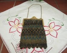 Mandalian Mesh Purse Vintage 1920's Roaring 20's Black Gold Turquoise Handbag Gold Tone Clasp Evening Bag