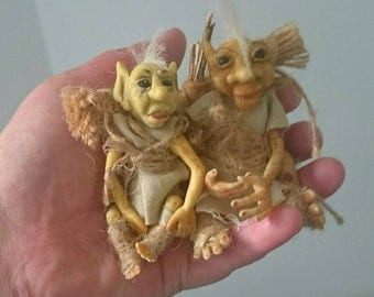 A pair of 2 Polymer clay character ooak miniature goblins trolls fairy sculpt for baby or art collector. Mythical creatures