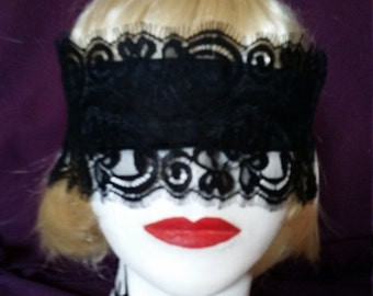 Handmade satin and lace blindfold with silk ribbon ties