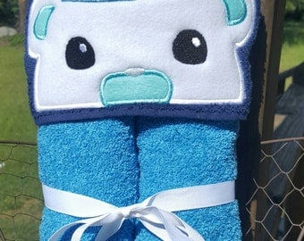 Captain  Bear Hooded Towel with FREE Embroidered Name