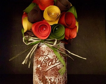 Rustic- Fall In Love Paper Floral Arrangement! In a hand painted mason jar!