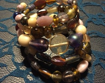 Large Glass Bead Memory Wire Bracelet