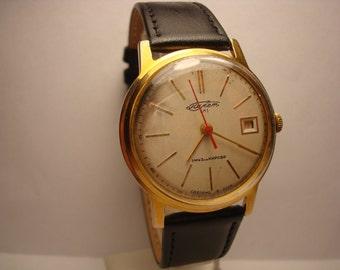 Poljot AU20 mens wrist watch Calendar Gold plated Automatic 17 Jewels Calendar  USSR RARE Serviced & Oilded