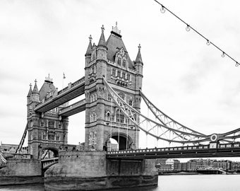 Tower Bridge, London, Black and White, London Photography, Architecture, Antique, Photography, London Wall decor, Wall Art, Fine Art Prints