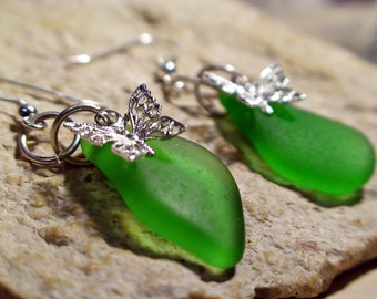Butterfly Seaglass Earrings - Beach Earrings - Gift for Her - Butterfly Jewelry