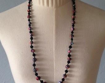 Millefiori venetian and jet beads