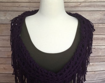 Infinity Scarf with Fringe - Purple